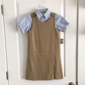 NWT Land's End Kids Girls Dress and Shirt 8 School